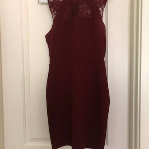 Burnt Red Lace Cutout Dress Bodycon